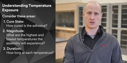 Video of Application Engineer explaining temperature resistanceof adhesive for a bonded assemby