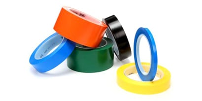 Image of 3M™ Vinyl Tape 471 in different sizes and 5 colors: blue, orange, green, black and yellow