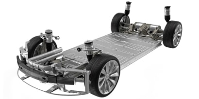 View of automobile chassis.
