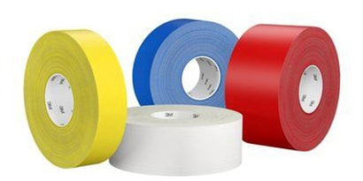 Image of 3M™ Ultra Durable Floor Marking Tape 971 in different sizes and 4 colors: yellow, white, blue and red