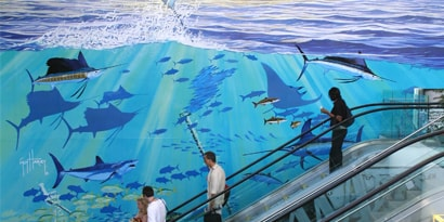 interior large graphic wall wrap at aquarium