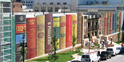 exterior building graphic on library building