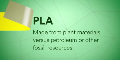 "Video still of a yellow tape and text ""PLA: Made from plant materials versus petroleum or other fossil resources"""