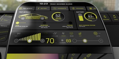 Futuristic car human machine interface display showing digital instrument panel gauges and battery charge status