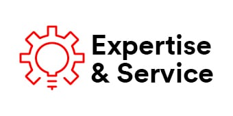 "Infographic with text ""Expertise & Service"