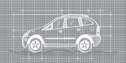 Diagram of car on graph paper, suggesting an engineer's design.