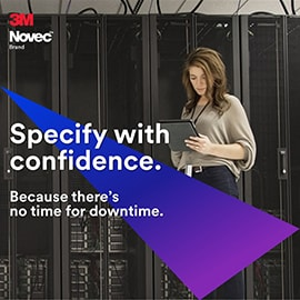 Woman IT worker on ipad in data center with blue and purple triangle graphic  over the top and text that reads