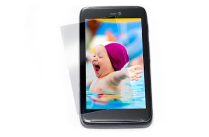 An image of a baby on a smart phone.