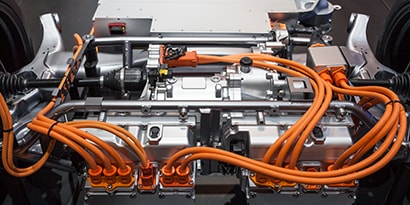 View of ePowertrain with wires connecting the components.
