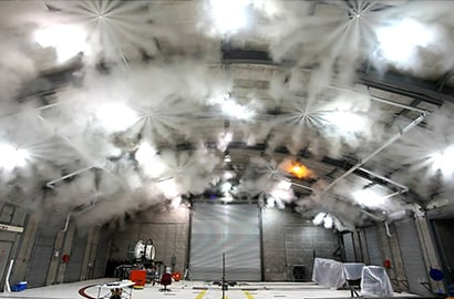 "A ""hush house"" test discharge of a fire suppression system using Novec 1230 fluid to help protect vital U.S. Air Force assets."