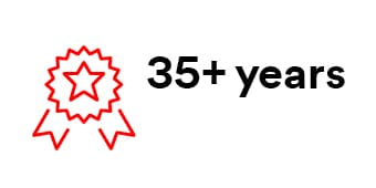 "Infographic with text ""35+ Years"