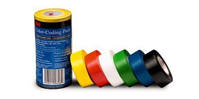 Image of a multipack canister of 3M™ General Purpose Vinyl Tape 764 in 6 colors: yellow, red, white, green, blue and black