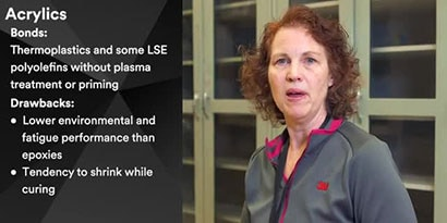 Image from video of Shari Loushin discussing the different structural adhesive chemistries