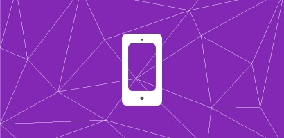 An illustration of a smart phone display screen on a purple background.